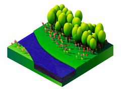 isometric nature and landscape - stock illustration
