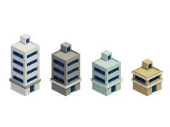 set of the render buildings, Expansion of the series - stock illustration