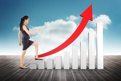 Composite image of businesswoman stepping up Stock Illustration