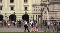 ULTRA HD 4K Tourist people relax Vienna old town horse carriage tourism emblem Stock Footage