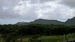 The road on an embankment at a reservoir of fresh water. Mauritius Stock Footage