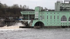 Volkhov HYDROELECTRIC POWER station-hydro power station on river Volkhov, Russia Stock Footage