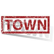 Stock Illustration of TOWN outlined stamp