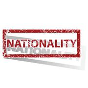 NATIONALITY outlined stamp Stock Illustration