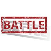 BATTLE outlined stamp - stock illustration