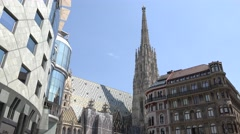 ULTRA HD 4K Famous Stephen Cathedral Vienna landmark modern facade traditional  Stock Footage