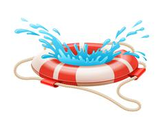 Life buoy for drowning rescue on water Stock Illustration