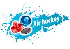 Mallets and puck for air hockey game Stock Illustration