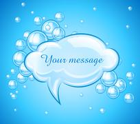 Bubbles cloud in water for message Piirros