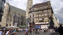 ULTRA HD 4K Famous Vienna Cathedral Stephansplatz public square Stephen church  Stock Footage