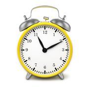 Yellow retro styled classic alarm clock isolated Stock Illustration