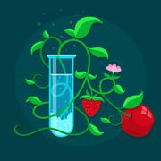 GMO genetically modified foods growing in test-tube - stock illustration