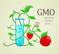 GMO genetically modifiedplants growing in test-tube - stock illustration