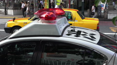 Flashing Lights On Police Car Shibuya Tokyo Japan Stock Footage