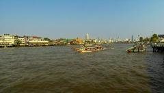 Chao Phraya river in evening light. Bangkok 2015 Stock Footage
