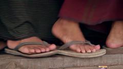 Feet of people walking in shales. Stock Footage
