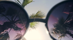 Sun and palm trees through sunglasses Stock Footage