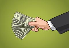 Hands Showing Money - stock illustration