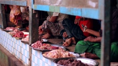 Butcher shop in India, the total lack of sanitation. Stock Footage