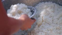 Dry rice is lunch monks in Myanmar. Stock Footage