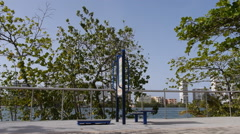 EXERCISE STATION at Condado Lagoon walkway - Puerto Rico - stock footage