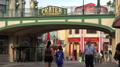 ULTRA HD 4K Prater sign entrance Vienna amusement park family entertainment icon Stock Footage