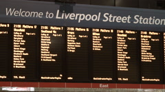 London Liverpool Street - Train Timetable Boards Stock Footage