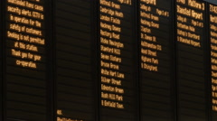 Train Timetable Boards close up Stock Footage