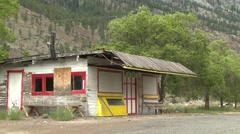 Abandoned roadside stand, colorful and sad Stock Footage
