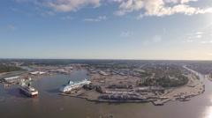 Aerial morning view Port of Turku, passengership maneuvering - stock footage