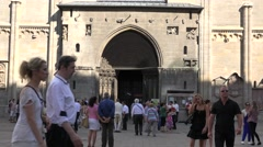 ULTRA HD 4K Crowded tourist people Vienna old town busy pedestrian street iconic Stock Footage