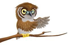 Cartoon owl wearing glasses - stock illustration