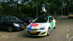 Google camera car driving through street Stock Footage