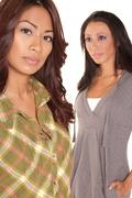 Mother and daughter serious portrait - selective focus Stock Photos
