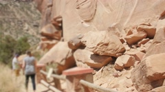 Native American Petroglyphs on the rock wall Stock Footage