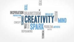 Minimal Creativity Word Cloud Animation Stock Footage