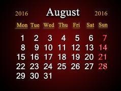 Stock Illustration of calendar on August of 2016 on claret