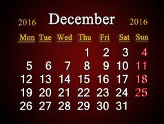 Stock Illustration of calendar of December of 2016 on claret