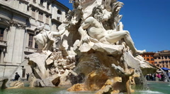 Piazza Navona, Fountain Stock Footage