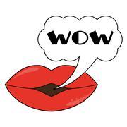 Lips wit speech bubble Stock Illustration