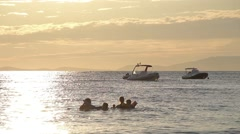 Holidays Family Children Playing Sea Gold Sunset Sky Boats Silhouette 2 Stock Footage