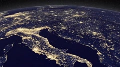 Satellite View of Europe at Night Stock Footage