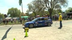 Stock Video Footage of motorsports, hillclimb launch blue Honda Civic