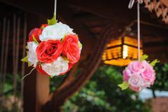 Bouquet of artificial flowers. Stock Photos