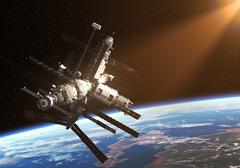 Space Station In The Rays Of The Sun Stock Illustration