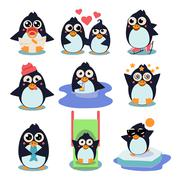 Penguin Set Vector Illustration, with Penguins in Different Situations - stock illustration