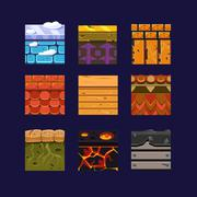 Different Materials and Textures for the Game - stock illustration