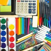 Desk covered with multiple stationery Stock Photos