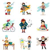 Active Lifestyle, Hobbies, Healthy Lifestyle Icons Set - stock illustration