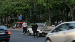Suspect confronted by police, Paris - stock footage